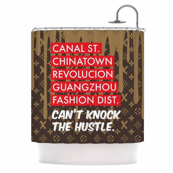 KESS InHouse Just L Can't Knock The Hustle Brn Red Urban Shower Curtain (69x70)