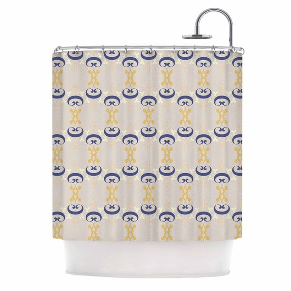 KESS InHouse Louise Ornament Pastel Gold Blue Shower Curtain (69x70)
