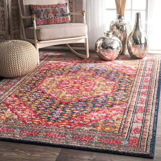 nuLOOM Pink Traditional Vibrant Diamond Medallion Area Rug