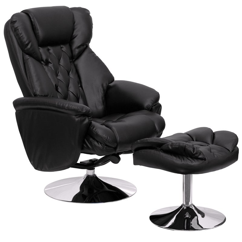 Offex Transitional Black Leather Recliner and Ottoman wit...