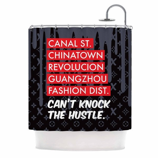 KESS InHouse Just L Cant Knock The Hustle Blk Red Urban Shower Curtain (69x70)