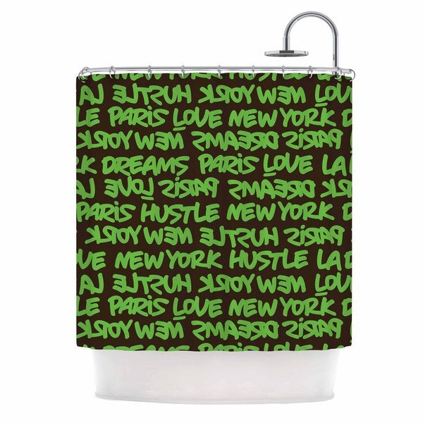KESS InHouse Just L Lux Writing Grn Brn Green Typography Shower Curtain (69x70)