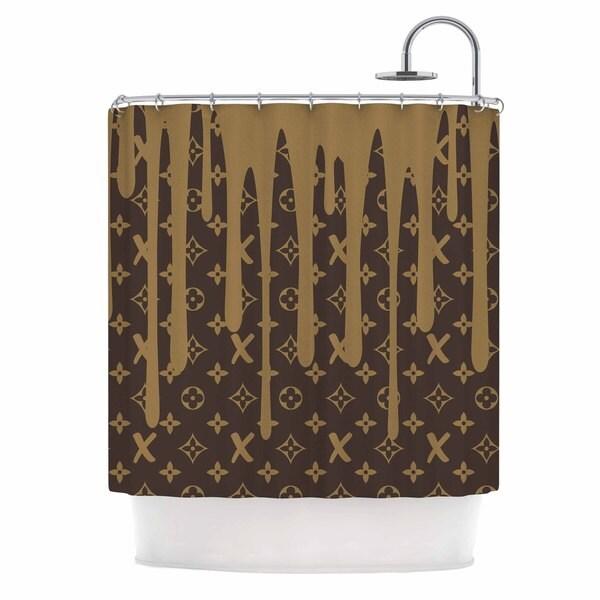 KESS InHouse Just L LX Drip BRN Urban Abstract Shower Curtain (69x70)