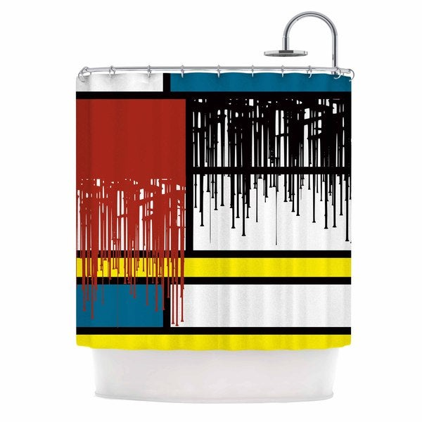 KESS InHouse Just L Saint Drips Red Abstract Shower Curtain (69x70)