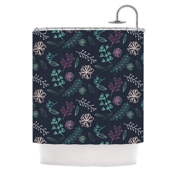 KESS InHouse Louise Flower III Blue Teal Shower Curtain (69x70)