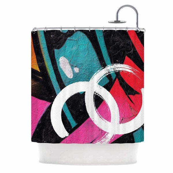 KESS InHouse Just L Channel Zero Multicolor Illustration Shower Curtain (69x70)