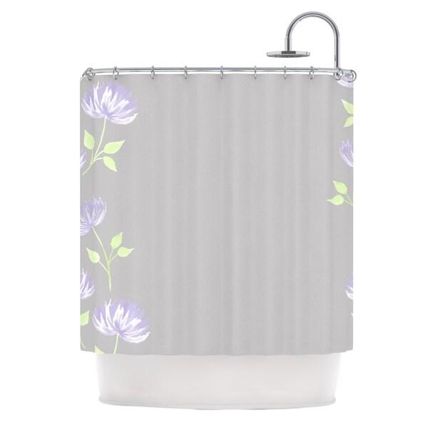 KESS InHouse Louise Flower II Gray Purple Shower Curtain (69x70)