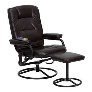 Offex Massaging Brown Leather Recliner and Ottoman with Metal Bases