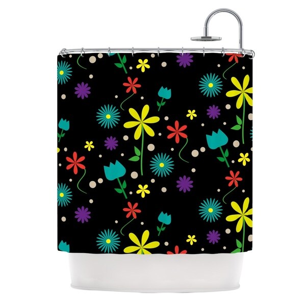KESS InHouse Louise Flower I Black Multicolor Shower Curtain (69x70)