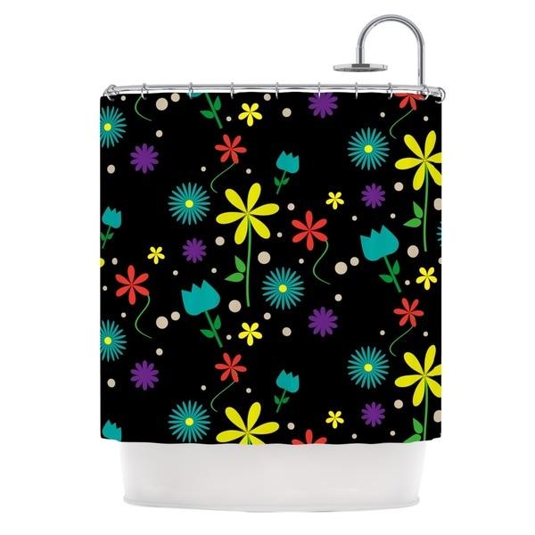 KESS InHouse Louise Flower I Black Multicolor Shower Curtain (69x70)