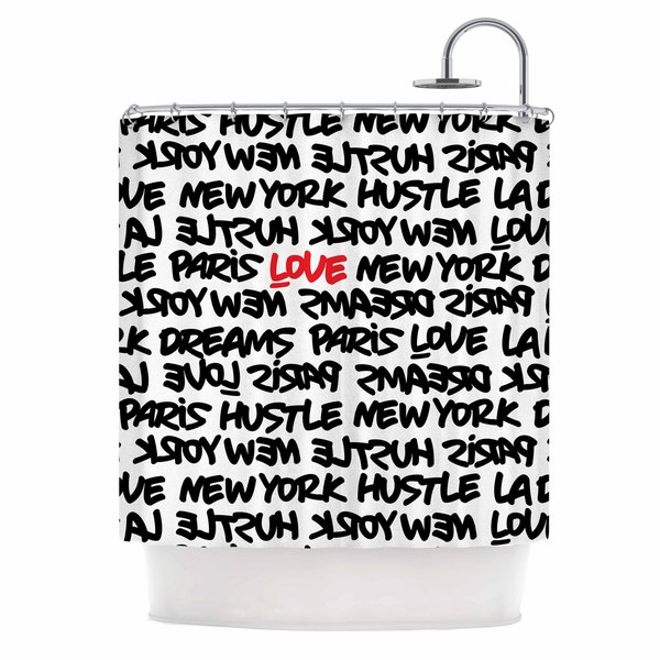 KESS InHouse Just L Lux Writing Wth Blk Red Urban Typography Shower Curtain (69x70)