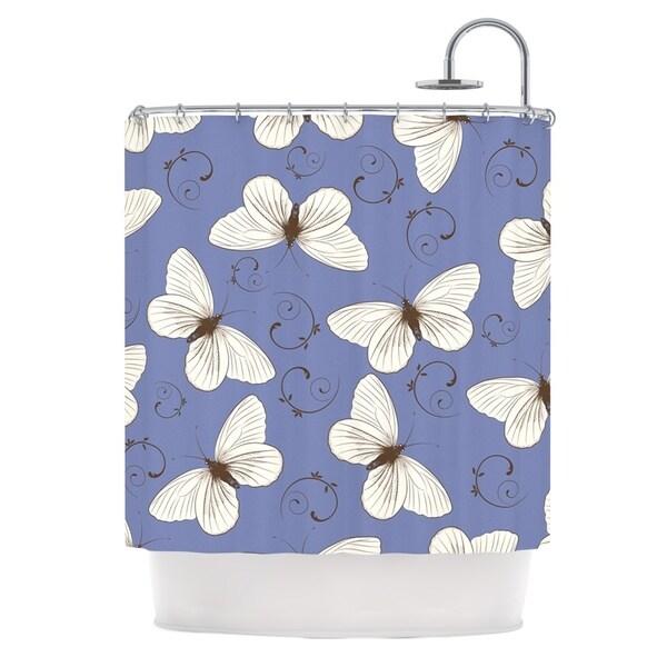 KESS InHouse Louise Butterflies Blue Shower Curtain (69x70)