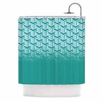 KESS InHouse Just L No Yard Teal White Urban Shower Curtain (69x70)