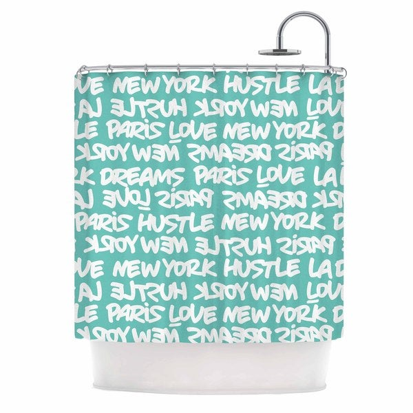 KESS InHouse Just L Lux Writing Wht Teal White Typography Shower Curtain (69x70)