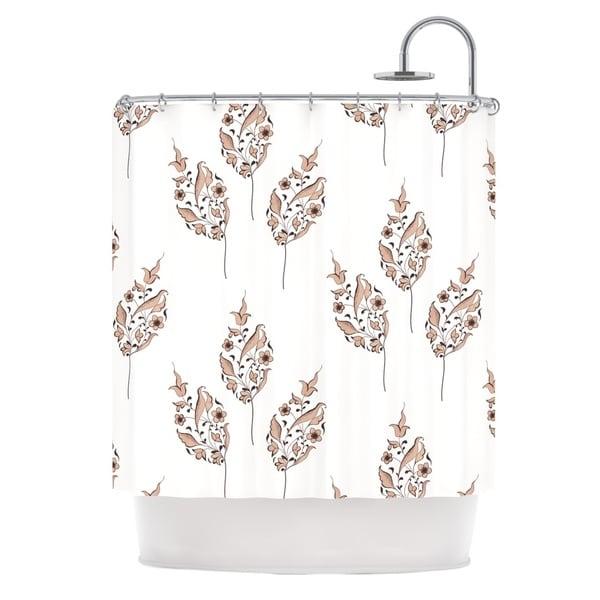 KESS InHouse Louise Pattern Brown Flower Shower Curtain (69x70)