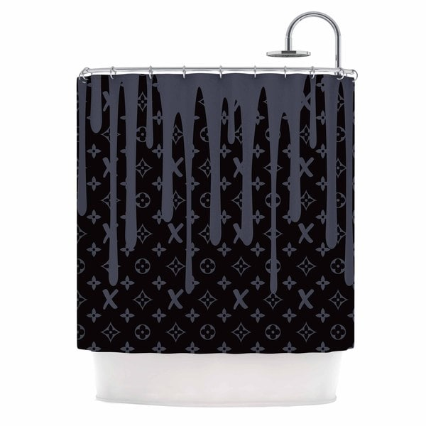 KESS InHouse Just L LX Drip Black Gray,Illustration Shower Curtain (69x70)