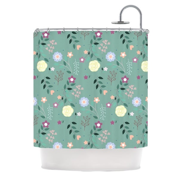 KESS InHouse Louise Flora Flowers Green Shower Curtain (69x70)