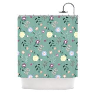 KESS InHouse Louise Flora Flowers Green Shower Curtain (69x70)