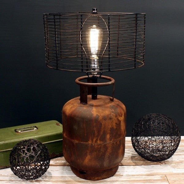Rivet and Rust Metal Industrial Tank Lamp