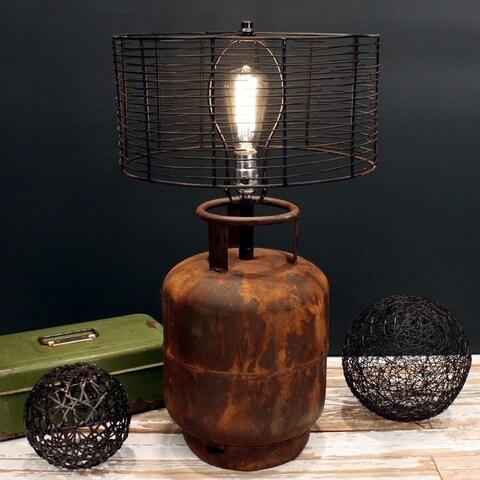 Rivet and Rust Metal Industrial Tank Lamp