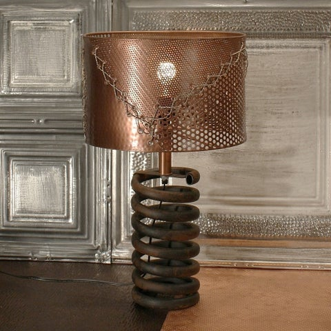 Rivet and Rust Black Metal Coil Lamp with Copper Shade