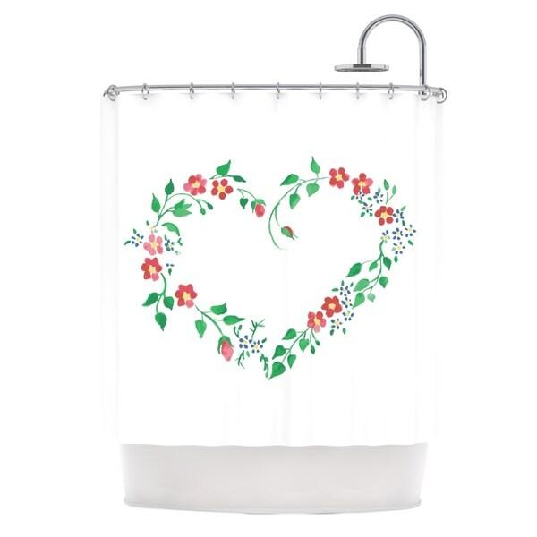 KESS InHouse Louise Heart Green Pink Shower Curtain (69x70)