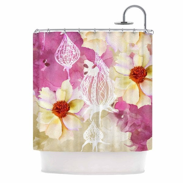 KESS InHouse Liz Perez SWEET FLORIST Cream Pink Shower Curtain (69x70)