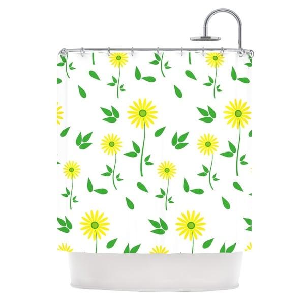 KESS InHouse Louise Daisy Yellow Green Shower Curtain (69x70)