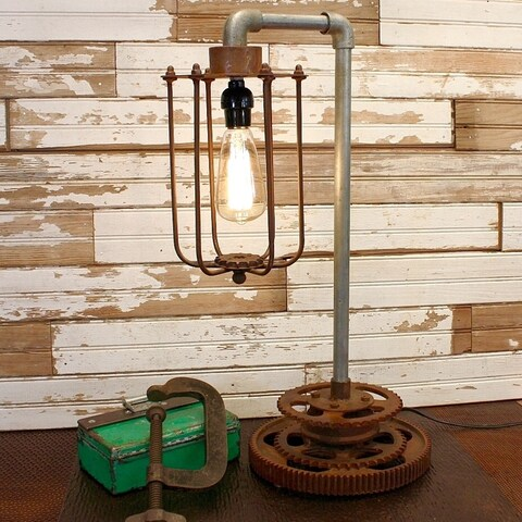 Rivet and Rust Iron and Steel Industrial Gear Lamp