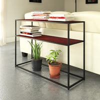 Priage Black Steel and Brown Wood Rectangular Console Table