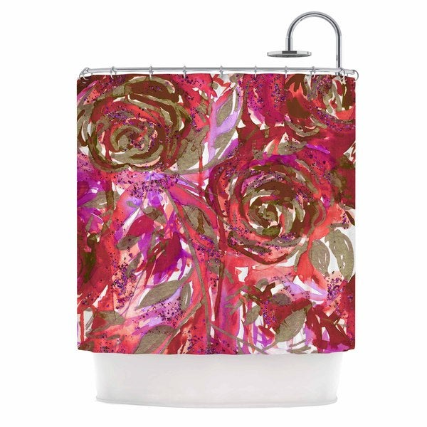 KESS InHouse Ebi Emporium Rose Combustion - Coral Red Maroon Floral Shower Curtain (69x70)