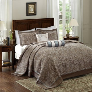 Link to Madison Park Whitman Blue Jacquard Bedspread Set Similar Items in Bedspreads