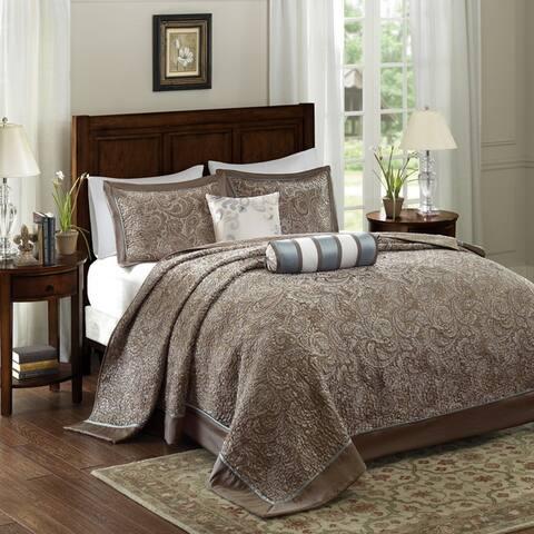 Madison Park Whitman Blue Jacquard Bedspread Set