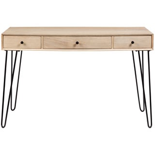 Wanderloot Graphik Mango Wood 3 Drawer Desk With Hairpin Legs