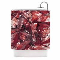 KESS InHouse Ebi Emporium Birds Of Prey - Red Black Dark Watercolor Shower Curtain (69x70)