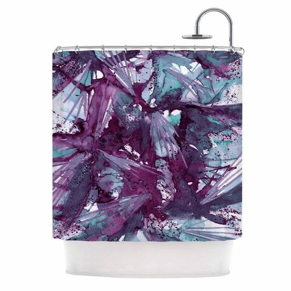 KESS InHouse Ebi Emporium Birds of Prey - Aqua Purple Blue Lavender Shower Curtain (69x70)