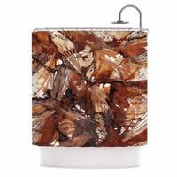 KESS InHouse Ebi Emporium Birds Of Prey - Rust Tan Brown Beige Watercolor Shower Curtain (69x70)