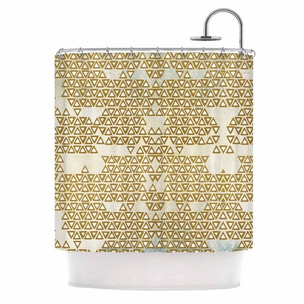 KESS InHouse Pom Graphic Design Mint & Gold Empire Yellow Geometric Shower Curtain (69x70) - 69 x 70