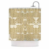 KESS InHouse Pom Graphic Design Mint & Gold Empire Yellow Geometric Shower Curtain (69x70) - 69 x 70