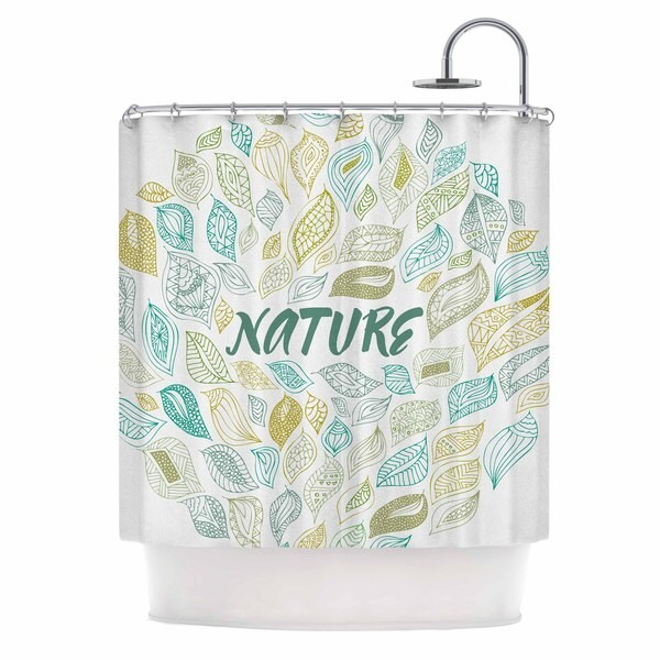 KESS InHouse Pom Graphic Design Nature Earth White Teal Shower Curtain (69x70)