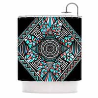 KESS InHouse Pom Graphic Design Peacock Feathers Multicolor Pattern Shower Curtain (69x70)