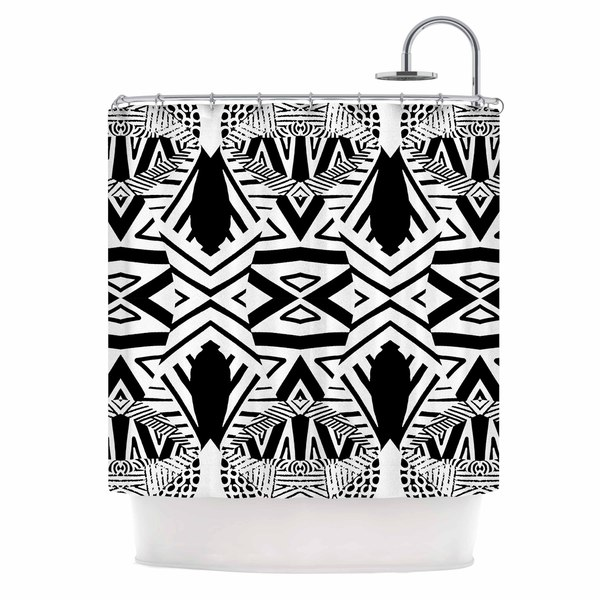 KESS InHouse Pom Graphic Design Ocean Retro Vibes Green Teal Shower Curtain (69x70)