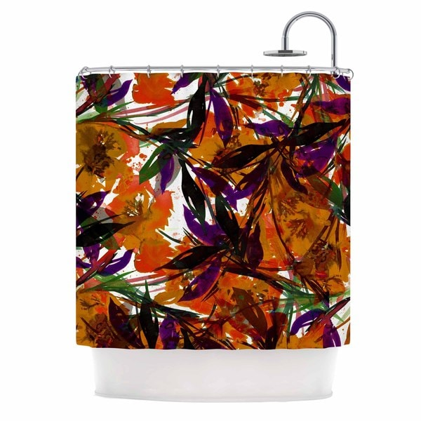 KESS InHouse Ebi Emporium Floral Fiesta - Orange Floral Painting Shower Curtain (69x70)