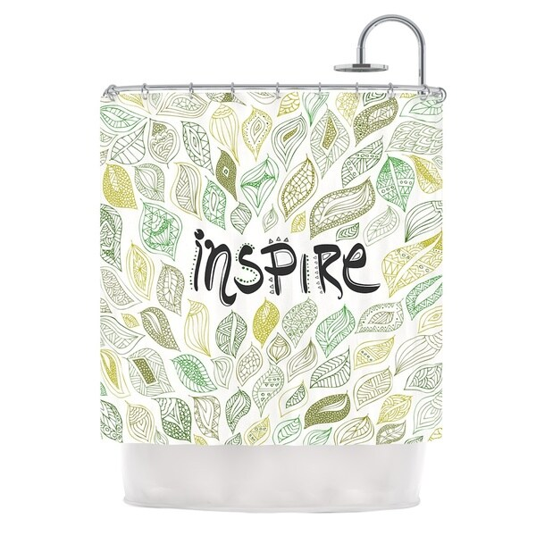 KESS InHouse Pom Graphic Design Inspire Nature Green Yellow Shower Curtain (69x70)