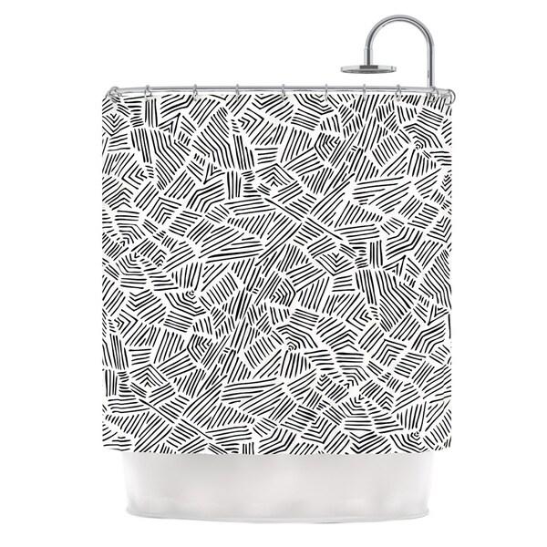 KESS InHouse Pom Graphic Design Inca Lines Black Illustration Shower Curtain (69x70)