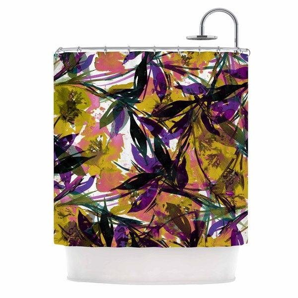 KESS InHouse Ebi Emporium Floral Fiesta - Yellow Purple Gold Lavender Shower Curtain (69x70)