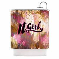 KESS InHouse Ebi Emporium It Girl-Black And Pink Pink Black Shower Curtain (69x70)