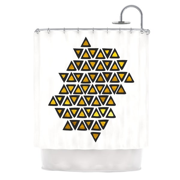KESS InHouse Pom Graphic Design Inca Tribe Gold White Shower Curtain (69x70)