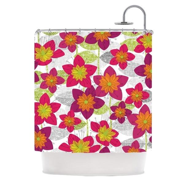 KESS InHouse Jacqueline Milton Star Flower Floral Pink Shower Curtain (69x70)