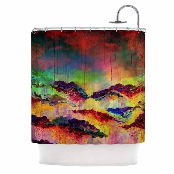 KESS InHouse Ebi Emporium It's A Rose Colored Life 4 Yellow Red Shower Curtain (69x70)